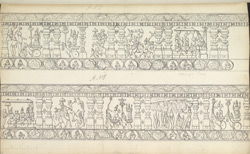 Narrative sculpture on the north side of the Amritesvara Temple at Amritpur, 1805. Third panel of the Mahabharata frieze